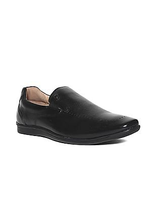 Arrow Black Textured Leather Slip On Shoes