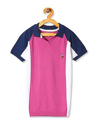 U.S. Polo Assn. Kids Girls Colourblocked Knitted Top