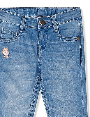Cherokee Blue Girls Mid Rise Stone Wash Jeans