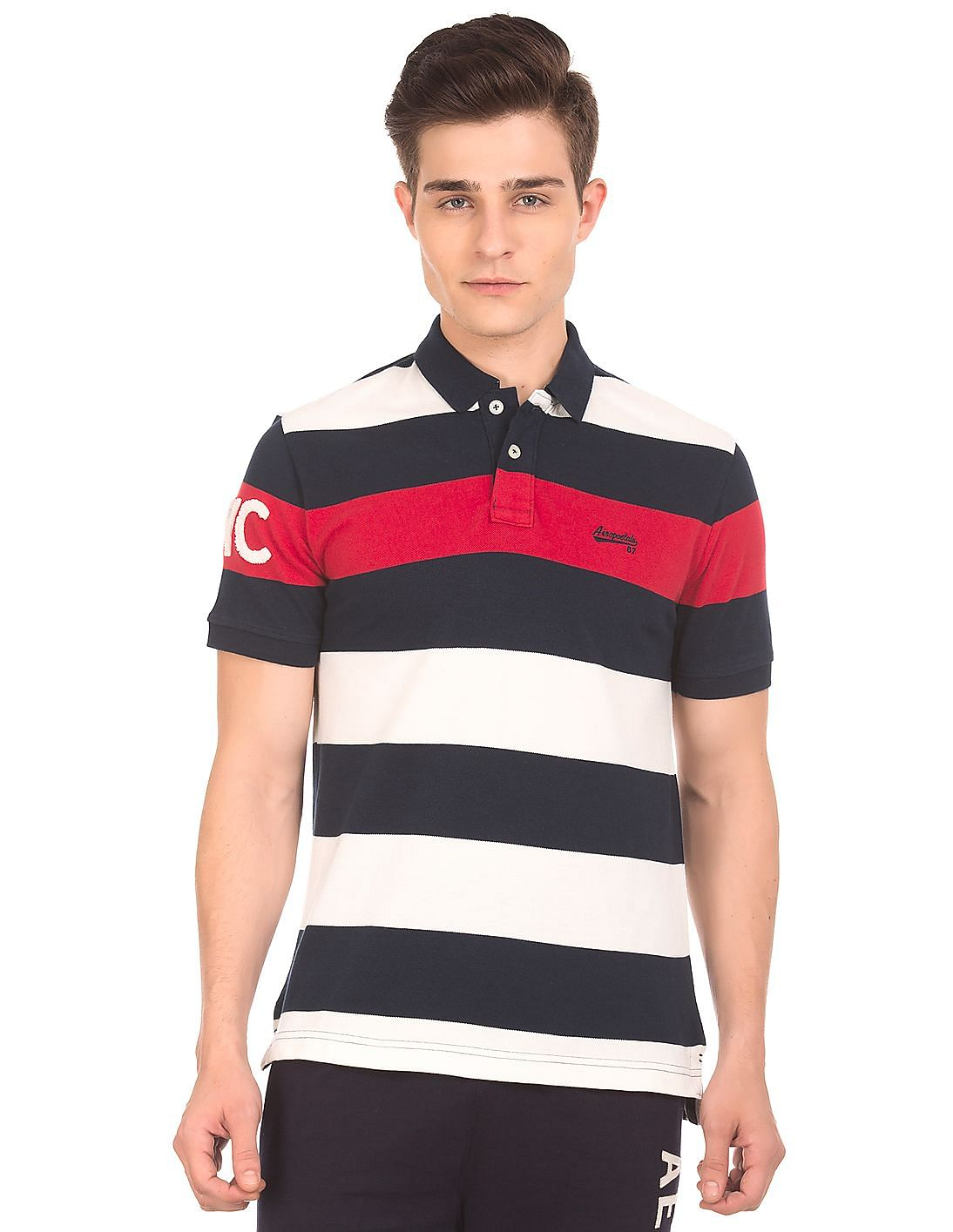 70ad75cb Buy Men Striped Pique Polo Shirt online at NNNOW.com