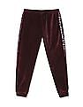 U.S. Polo Assn. Kids Purple Girls Velveteen Embellished Joggers