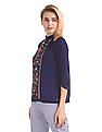 U.S. Polo Assn. Women Floral Embroidered Smock Neck Top