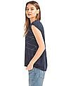 GAP Women Blue Foil Print Cap Sleeve Tee