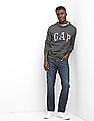 GAP Grey Fleece Logo Stars And Stripes Hoodie