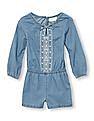 The Children's Place Toddler Girl Long Sleeve Embroidered Chambray Romper