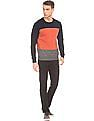 Flying Machine Colour Block Round Neck Sweater