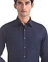 Arrow Blue French Placket Patterned Shirt
