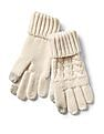 GAP Girls White Cable-Knit Smartphone Gloves