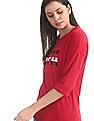 U.S. Polo Assn. Women Red Brand Print Cotton T-Shirt