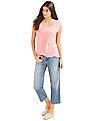 GAP Women Pink Linen Cap Sleeve Tee