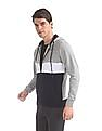 Arrow Sports Grey Hooded Colour Block Sweatshirt
