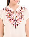 Bronz Notched Neck Embroidered Tunic