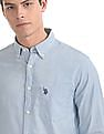 U.S. Polo Assn. Blue Button Down Collar Solid Shirt