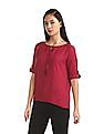 Cherokee Pink Notched Tie Up Neck Solid Top