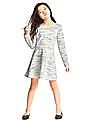 GAP Girls Grey Space Dye Quilted Fit And Flare Dress