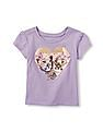 The Children's Place Toddler Girl Short Sleeve 'Love My Sister' Leopard Heart Graphic Tee