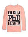 The Children's Place Boys Pink Long Sleeve 'I've Got A PhD In Awesome' Graphic Tee