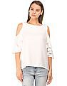 Flying Machine Women Cold Shoulder Zipper Back Top
