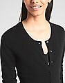 GAP Women Black Slim Crewneck Cardigan Sweater